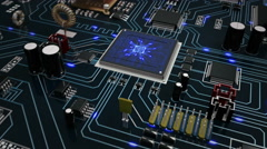 Futuristic circuit board with moving electrons. Loopable f/588 to f/851. Blue. Stock Footage