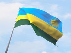 Rwanda flag flying on clear sky. Stock Illustration
