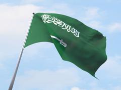 Saudi Arabia flag flying on clear sky. Stock Illustration
