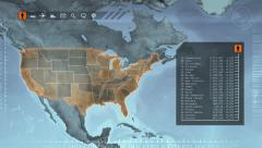 World map with US statistics. Gray. Loopable. Stock Footage