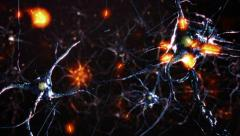 Flying across a neuronal network, electric impulses pass by it. Blue. 2 in 1. Stock Footage