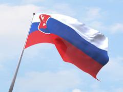 Stock Illustration of Slovakia flag flying on clear sky.