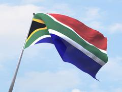 South Africa flag flying on clear sky. - stock illustration