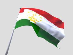 Tajikistan flying flag isolate on white background Stock Illustration
