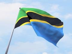 Stock Illustration of Tanzania flag flying on clear sky.