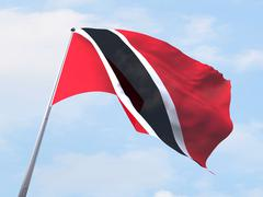 Trinidad and Tobago flag flying on clear sky. Stock Illustration