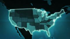 World map with US Airports, Interstate Routes and Railroads. Blue. Loopable. Stock Footage