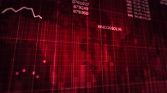 Declining financial chart. Red and White. 2  in 1. Economy background. - stock footage