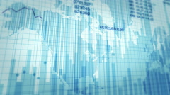 Declining financial chart. White and green. 2 in 1. Economy background. Stock Footage