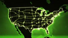 World map with US Airports, Roads and Railroads. Green. Loopable. Stock Footage