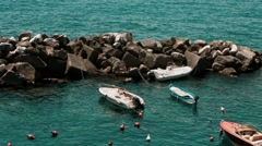 Boats and yachts for the breakwater Stock Footage