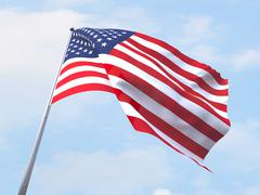United States flag flying on clear sky. - stock illustration