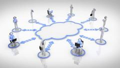 Animation representing the cloud computing concept. Cyan. Stock Footage