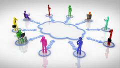 Animation representing the cloud computing concept. Multicolored. Stock Footage