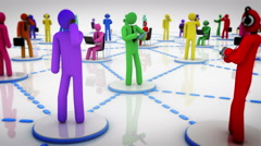 Animation representing the social network concept. Multicolored. 2 in 1. - stock footage