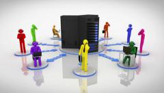 Animation representing the server network concept. Multicolored. Loopable. Stock Footage