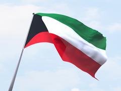 Kuwait flag flying on clear sky. Stock Illustration