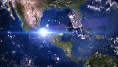 Central America. Telecommunication satellite orbiting the Earth. 3  in 1. - stock footage