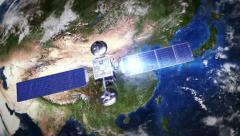 China. Highly detailed telecommunication satellite orbiting the Earth. 3 in 1. - stock footage