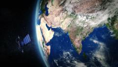 India. Highly detailed telecommunication satellite orbiting the Earth. 2 in 1. - stock footage