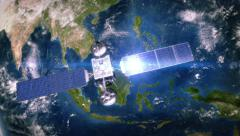 South-East Asia. Telecommunication satellite orbiting the Earth. 3 in 1. - stock footage