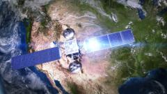 North America. Telecommunication satellite orbiting the Earth. 3 in 1. - stock footage