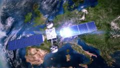 Europe. Highly detailed telecommunication satellite orbiting the Earth. 3 in 1. - stock footage