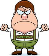 Cartoon Lederhosen Boy Angry - stock illustration
