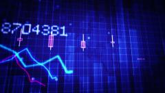 Declining financial chart close-up. Blue and White. Loopable. 2 in 1. Stock Footage