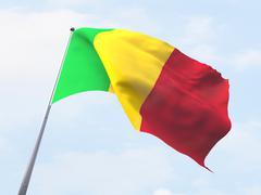 Mali flag flying on clear sky. Stock Illustration