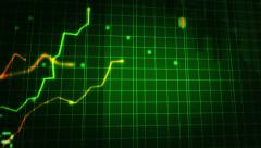 Growing financial chart close-up. Green and Blue. Loopable. 2 in 1. Stock Footage