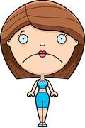 Sad Cartoon Fitness Woman Stock Illustration