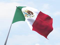 Stock Illustration of Mexico flag flying on clear sky.