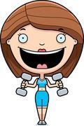 Cartoon Woman Lifting Weights - stock illustration