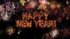 Fireworks with New Year greeting. English version. Stock Footage