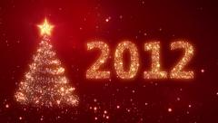 New Year background with bright snow. Red. Loopable. Stock Footage