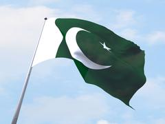 Pakistan flag flying on clear sky. - stock illustration
