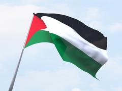 Stock Illustration of Palestine flag flying on clear sky.