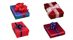 Four  Christmas gifts turning. Loopable. Alpha matte. Stock Footage