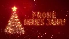 Frohe Neues Jahr. Christmas background with bright snow. Loopable. - stock footage