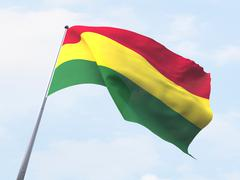 Bolivia flag flying on clear sky. - stock illustration