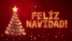 FELIZ NAVIDAD. Christmas background with bright snow. Loopable. - stock footage