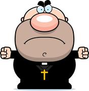 Angry Cartoon Priest Stock Illustration