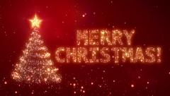 Christmas background with bright snow. Red. Loopable. - stock footage