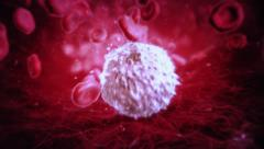 Journey through the blood stream into a white blood cell. Cold colors. Stock Footage