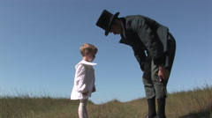 Young David Livinstone Looks up at His Father, David Livingstone Reenactment - stock footage