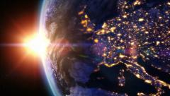 Sunrise over Europe. Earth seen from space. Stock Footage