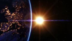 Stock Video Footage of Sunrise over Europe. Locked down. Earth seen from space.