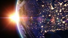 Sunrise over North America. Earth seen from space. - stock footage