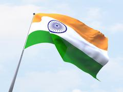 India flag flying on clear sky. - stock illustration
